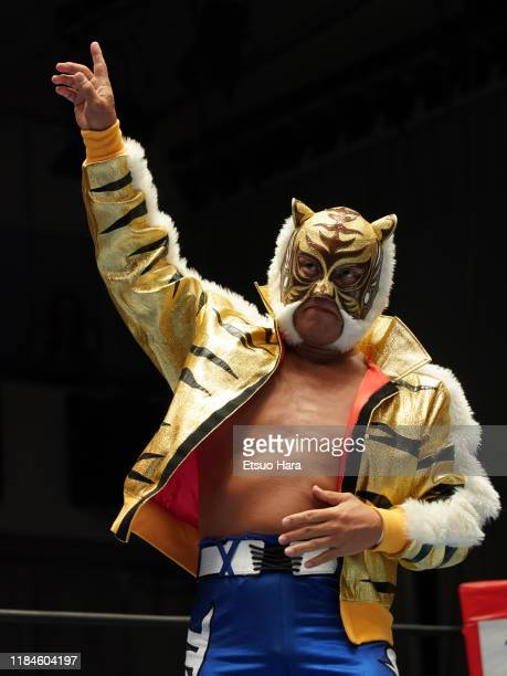 Tiger Mask enters the ring during the New Japan ProWrestling 'Road To Power Struggle' at Korakuen Hall on October 27 2019 in Tokyo Japan