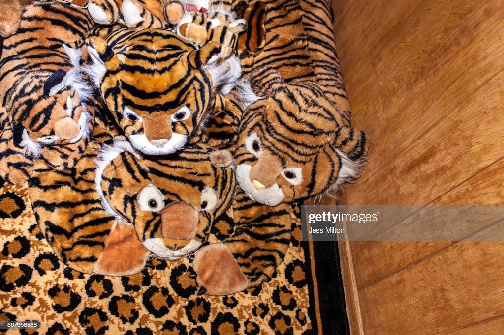 Tiger Print Toys On Cheetah Rug