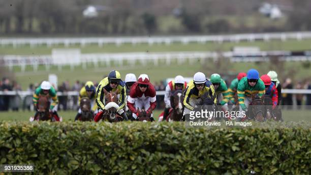 Tiger Roll ridden by jockey Keith Donoghue in action in the Glenfarclas Chase during Ladies Day of the 2018 Cheltenham Festival at Cheltenham...