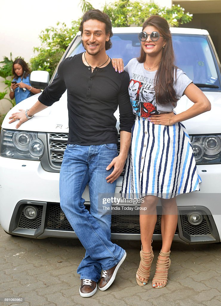 Tiger Shroff and Jacqueline Fernandez during the promotion of film A Flying Jatt at Mehboob Studio in Mumbai