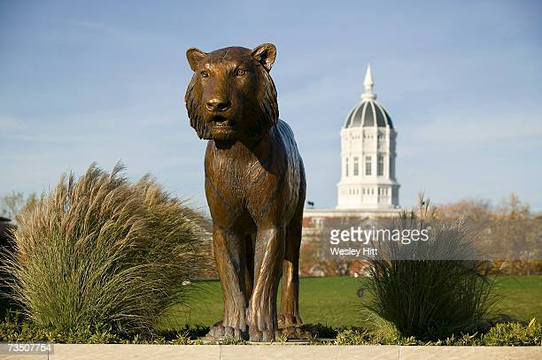 Tiger statue and Jesse Hall on the campus of the University of Missouri on November 11 2005 in Columbia Missouri