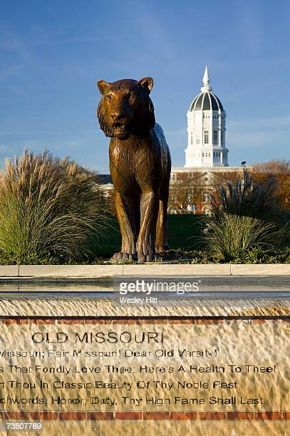 Tiger statue and Jesse Hall on the campus of the University of Missouri on November 11, 2005 in Columbia, Missouri.