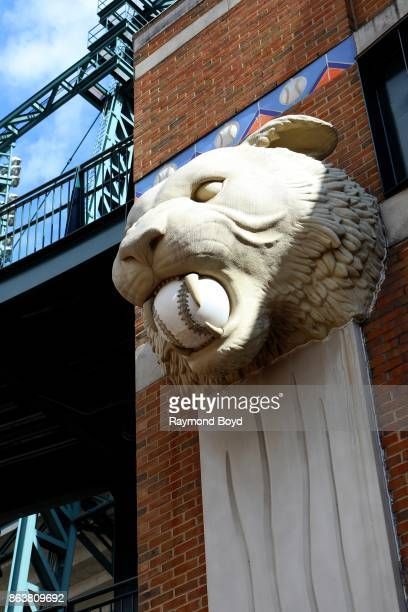 Tiger statue at Comerica Park home of the Detroit Tigers baseball team in Detroit Michigan on October 13 2017