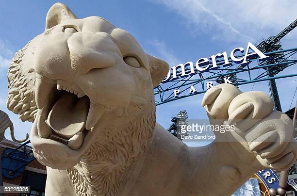 Tiger statue is seen outside of the Comerica Park entrance before the start of the 2005 Major League Baseball Home Run Derby at Comerica Park on July...