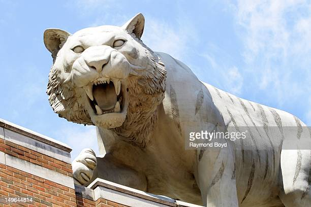 Tiger statue sits atop Comerica Park in Detroit Michigan on JULY 21 2012