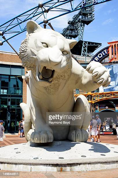 Tiger statue sits outside Comerica Park, in Detroit, Michigan on JULY 21, 2012.