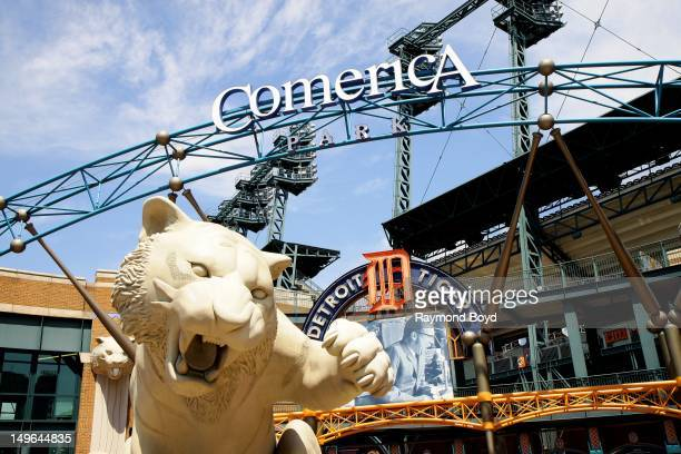 Tiger statue sits outside Comerica Park in Detroit Michigan on JULY 21 2012