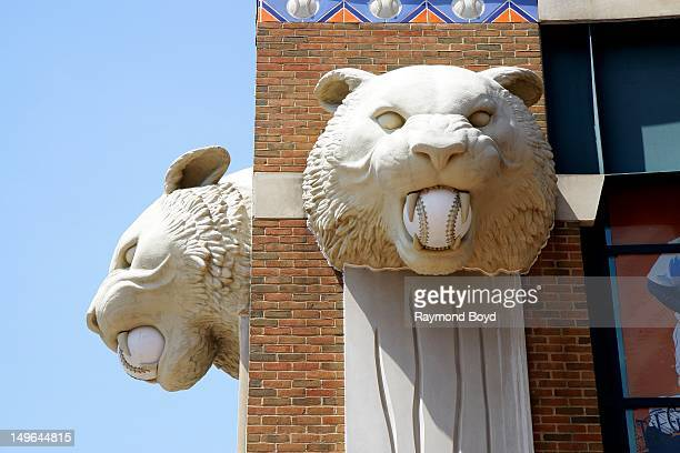 Tiger statues adorn the outside walls at Comerica Park in Detroit Michigan on JULY 21 2012