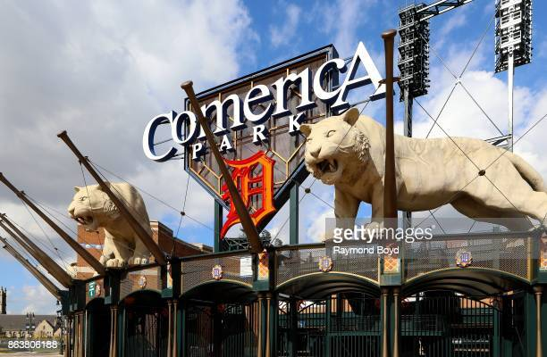 Tiger statues at Comerica Park home of the Detroit Tigers baseball team in Detroit Michigan on October 13 2017