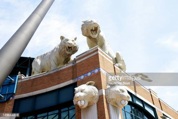 Tiger statues sits atop Comerica Park in Detroit Michigan on JULY 21 2012