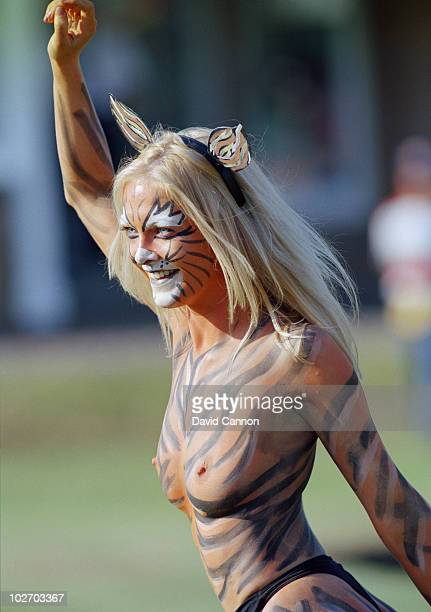 A tiger striped body painted streaker during the British Open on 20 July 1997 at the Royal Troon Golf Club in Troon Scotland