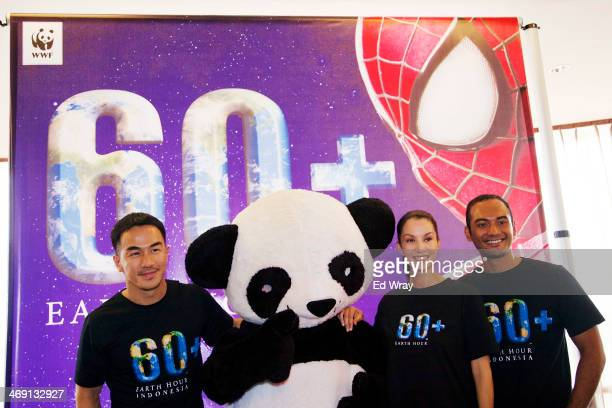 WWF Tiger Warrior Joe Taslim The World Wildlife Fund's Earth Hour Global Ambassador Nadya Hutagalung and WWF Orangutan Warrior Ario Bayu pose in...