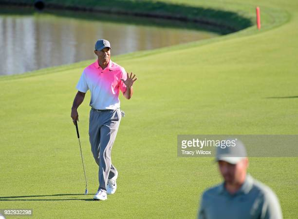 Tiger Woods acknowledges the fans during the second round of the Arnold Palmer Invitational presented by MasterCard at Bay Hill Club and Lodge on...