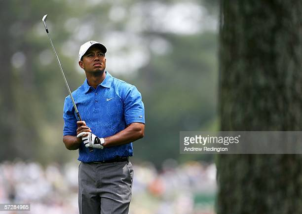 Tiger Woods after playing his shot from the first fairway during the second round of The Masters at the Augusta National Golf Club on April 7 2006 in...