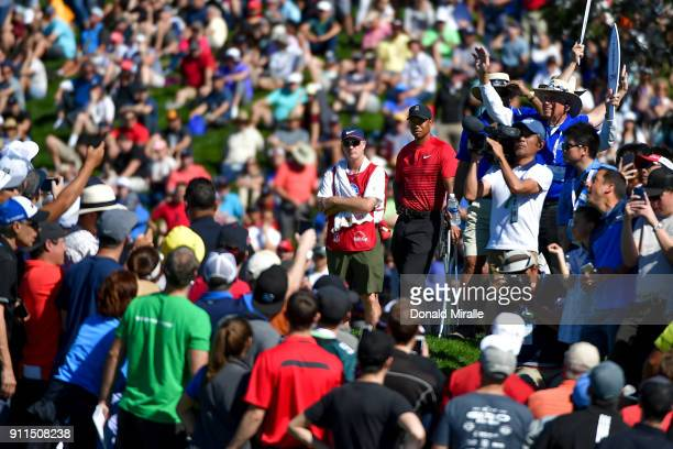 Tiger Woods among the gallery during the final round of the Farmers Insurance Open at Torrey Pines South on January 28 2018 in San Diego California