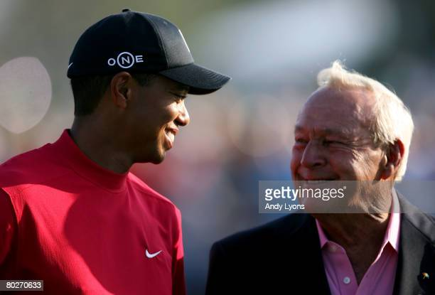 Tiger Woods and Arnold Palmer are pictured after Woods won the Arnold Palmer Invitational on March 16, 2008 at the Bay Hill Club and Lodge in...