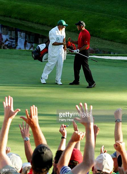 Tiger Woods and his caddie, Steve Williams, celebrate after Woods chipped in for birdie on the 16th hole during the final round of The Masters at the...