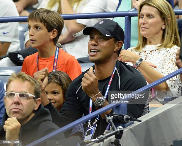 Tiger Woods and his daughter Sam Woods attend day 5 of the 2015 US Open at USTA Billie Jean King National Tennis Center on September 4, 2015 in New...