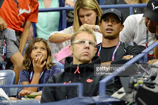 Tiger Woods and his daughter Sam Woods attend day 5 of the 2015 US Open at USTA Billie Jean King National Tennis Center on September 4 2015 in New...