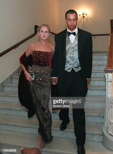 Tiger Woods and his girlfriend Joanne Jagoda arrive at the Ryder Cup Gala at Symphony Hall in Boston