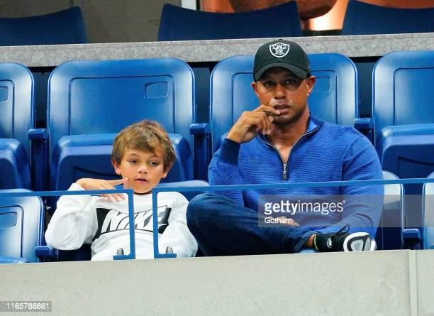 Tiger Woods and his son Charlie Axel Woods cheer on Rafael Nadal at 2019 US Open in New York City