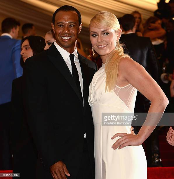 Tiger Woods and Lindsay Vonn attend the 2013 Costume Institute Gala PUNK Chaos to Couture at Metropolitan Museum of Art on May 6 2013 in New York City