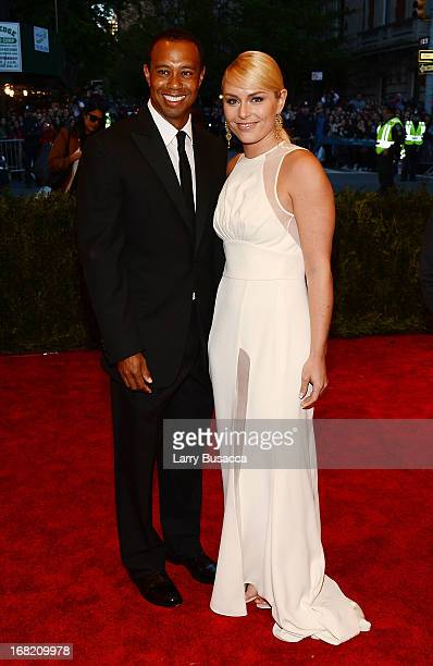 Tiger Woods and Lindsay Vonn attend the Costume Institute Gala for the 'PUNK Chaos to Couture' exhibition at the Metropolitan Museum of Art on May 6...