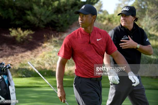 Tiger Woods and Phil Mickelson are seen as they play a practice round before The Match at Shadow Creek Golf Course on November 20 2018 in Las Vegas...