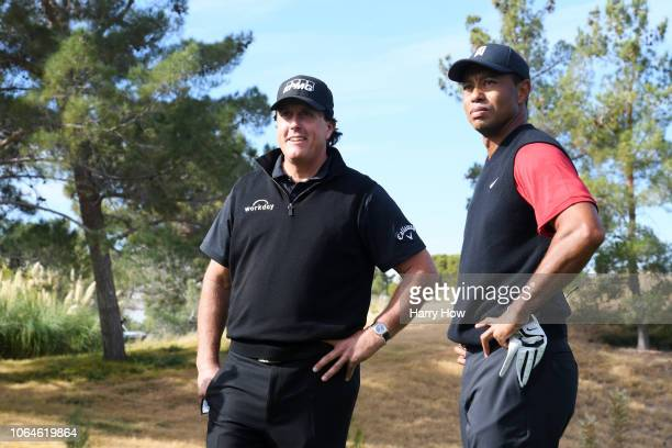 Tiger Woods and Phil Mickelson look on prior to The Match Tiger vs Phil at Shadow Creek Golf Course on November 23 2018 in Las Vegas Nevada