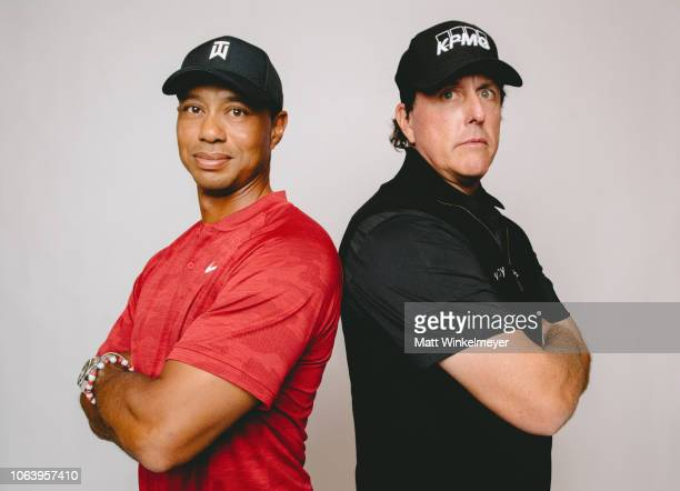 Tiger Woods and Phil Mickelson pose for a portrait for The Match Tiger vs Phil Exclusive Photo Shoot at Shadow Creek Golf Course on November 20 2018...