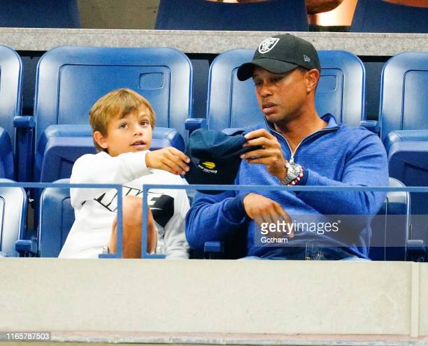 Tiger Woods and son Charlie Axel Woods cheer on Rafael Nadal at 2019 US Open in New York City