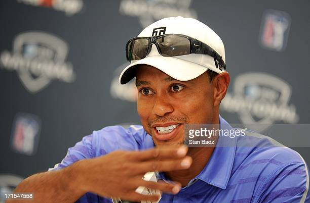 Tiger Woods answers questions during his press interview for the ATT National at Congressional Country Club on June 26 2013 in Bethesda Maryland
