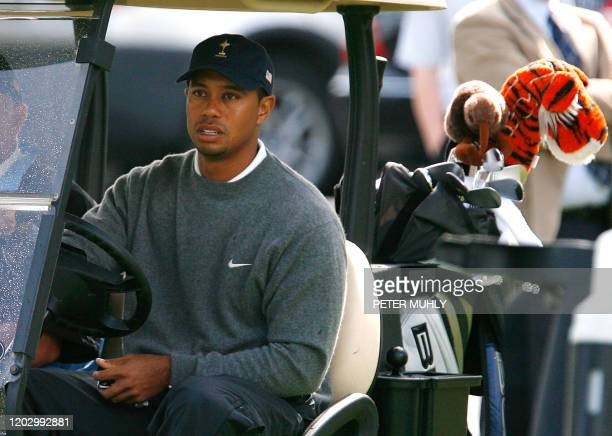 US Tiger Woods arrives on the first tee 28 August 2006 during the US Ryder Cup Team practice at the K Club in Straffan Co Kildare Ireland ahead of...