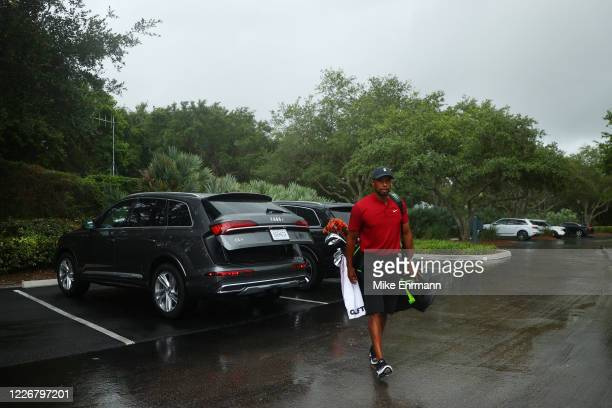 Tiger Woods arrives to The Match Champions For Charity at Medalist Golf Club on May 24 2020 in Hobe Sound Florida