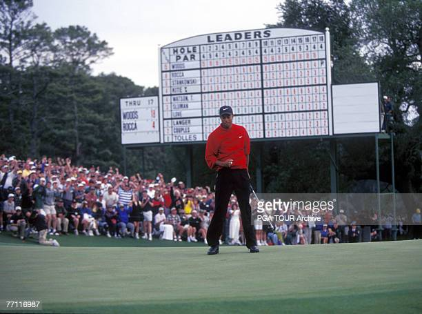 Tiger Woods at the 1997 Masters Tournament at the Augusta National Golf Club in Augusta Georgia April 1997