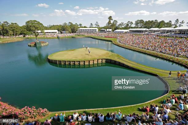Tiger Woods birdies during the third round of THE PLAYERS Championship on THE PLAYERS Stadium Course at TPC Sawgrass held on May 9 2009 in Ponte...