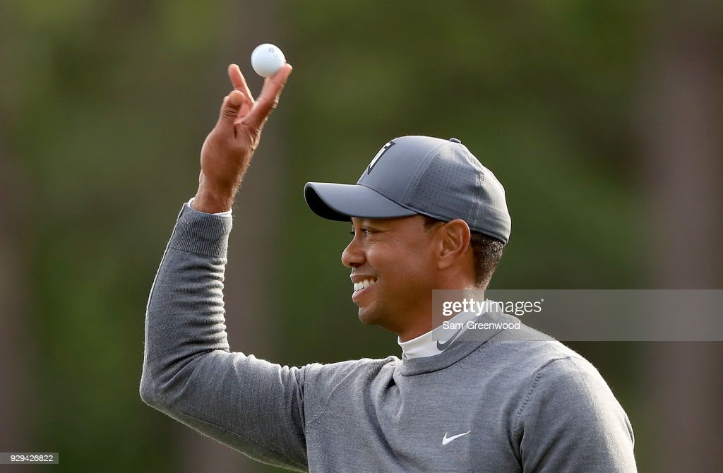 Tiger Woods catches a ball on the 17th hole during the first round of the Valspar Championship at Innisbrook Resort Copperhead course on March 8, 2018 in Palm Harbor, Florida.