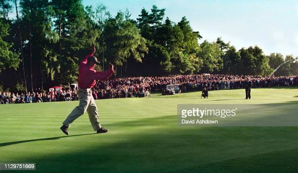 Tiger Woods celebrates a birdie on the final day Cisco World Match Play golf at the Wentworth Club England 1518th October 1998
