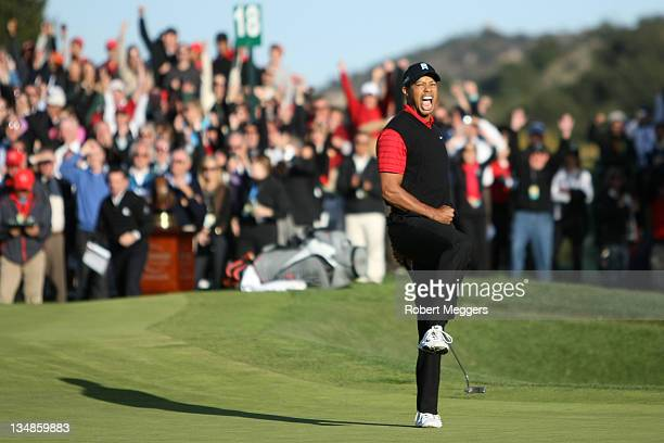 Tiger Woods celebrates after his birdie putt on the 18th hole to win the Chevron World Challenge at Sherwood Country Club on December 4 2011 in...