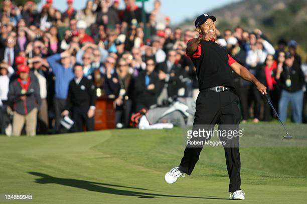 Tiger Woods celebrates after his birdie putt on the 18th hole to win the Chevron World Challenge at Sherwood Country Club on December 4, 2011 in...