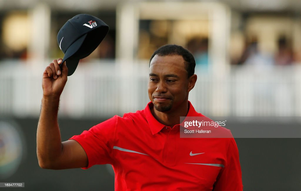 Tiger Woods celebrates after his two-stroke victory at the World Golf Championships-Cadillac Championship at the Trump Doral Golf Resort & Spa on March 10, 2013 in Doral, Florida.