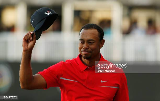 Tiger Woods celebrates after his twostroke victory at the World Golf ChampionshipsCadillac Championship at the Trump Doral Golf Resort Spa on March...