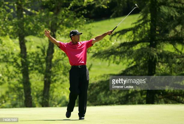 Tiger Woods celebrates after making an eagle on the 7th hole during the final round of the Wachovia Championship at Quail Hollow Club on May 6 2007...