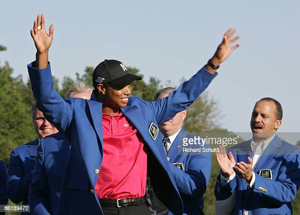 Tiger Woods celebrates after winning the 2007 Wachovia Championship held at Quail Hollow Country Club in Charlotte, North Carolina on May 6, 2007.