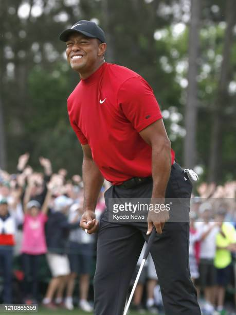 Tiger Woods celebrates after winning the Masters Tournament on April 14 in Augusta Georgia