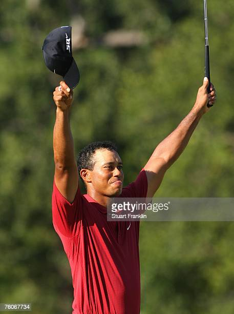 Tiger Woods celebrates his twostroke victory at the 89th PGA Championship at the Southern Hills Country Club on August 12 2007 in Tulsa Oklahoma