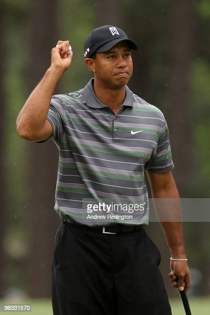 Tiger Woods celebrates making eagle on the eighth hole during the first round of the 2010 Masters Tournament at Augusta National Golf Club on April 8...