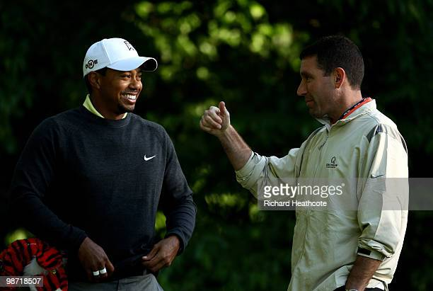 Tiger Woods chats with his manager Mark Steinberg IMG Senior Vice President and Global Managing Director of Golf during the proam for the Quail...