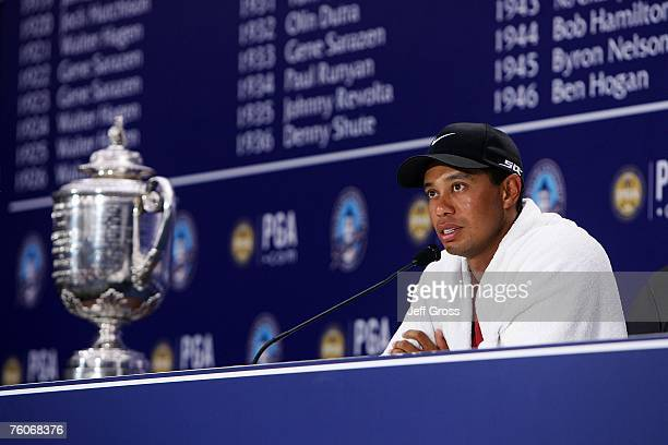 Tiger Woods chats with the media after his twostroke victory at the 89th PGA Championship at the Southern Hills Country Club on August 12 2007 in...