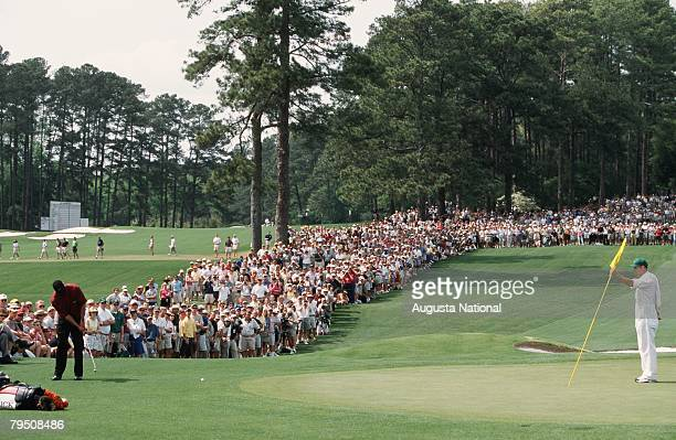 Tiger Woods Chips To The 2nd Hole During The 2001 Masters Tournament